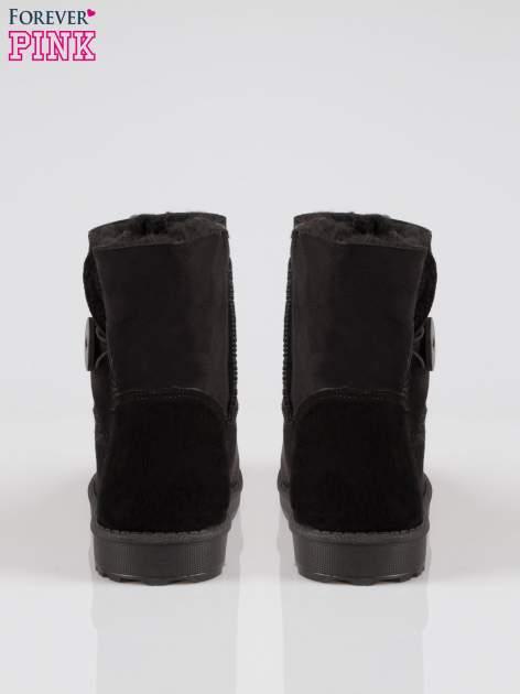 Czarne śniegowce damskie zapinane na guzik                                  zdj.                                  3