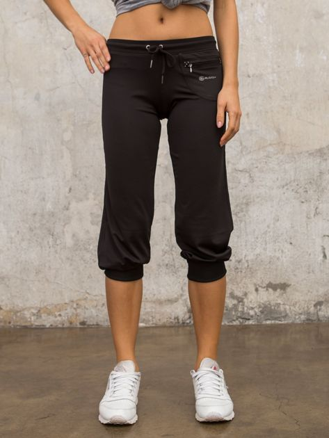 Czarne spodnie capri z dżetami i kieszonką                                  zdj.                                  3
