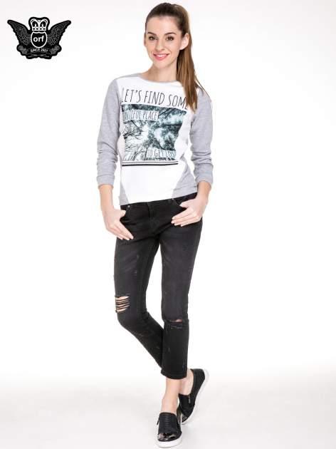 Czarne spodnie jeansowe 7/8 z rozdarciami                                  zdj.                                  2