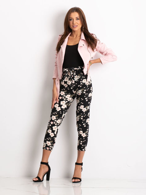 Czarne spodnie materiałowe w kwiaty                              zdj.                              3