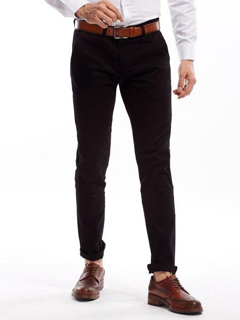 Czarne spodnie męskie chinosy o prostym kroju                              zdj.                              11