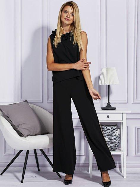 Czarne spodnie z cekinowym lampasem                                  zdj.                                  4