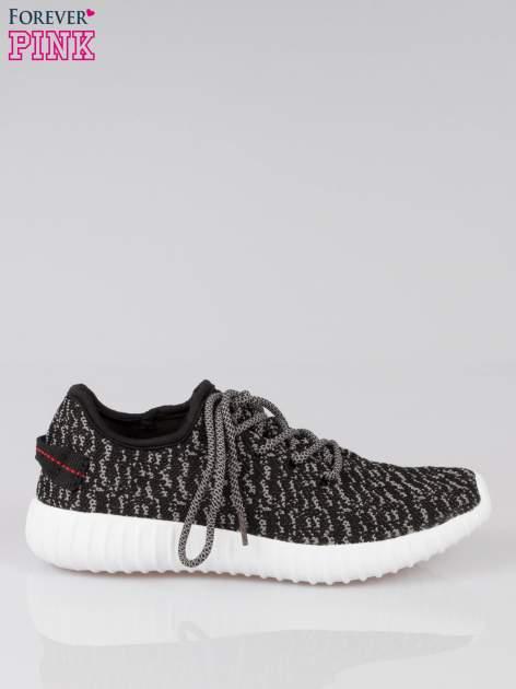 Czarne sportowe buty textile Blossom z szarym nadrukiem                                  zdj.                                  1