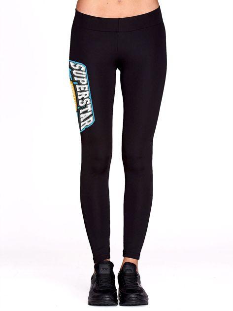 Czarne sportowe legginsy z nadrukiem SUPERSTAR                              zdj.                              2