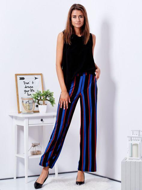 Czarne szerokie spodnie w paski                              zdj.                              6