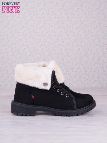 Czarne sznurowane botki eco leather Chill z futrzanym kołnierzem i krótką cholewką                                  zdj.                                  1