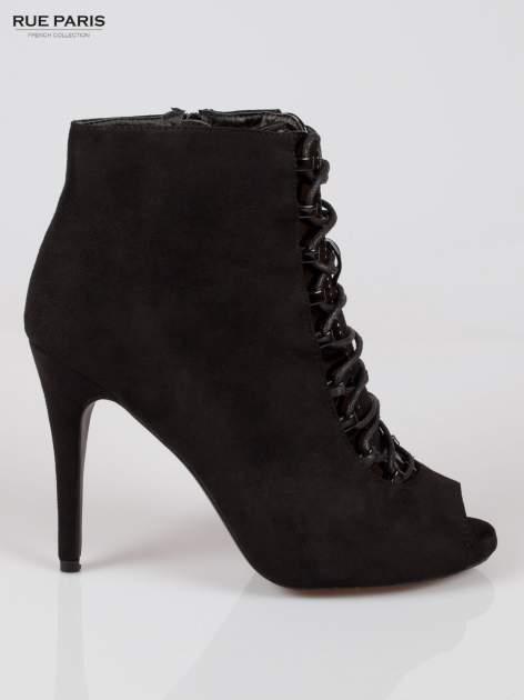 Czarne sznurowane botki faux suede Trish open toe                                  zdj.                                  1