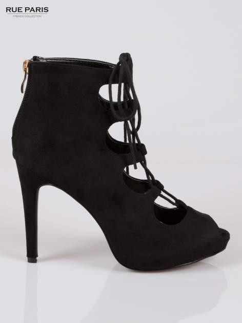 Czarne sznurowane botki lace up open toe z zamkiem