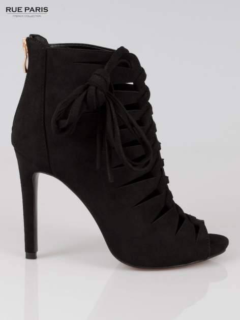 Czarne sznurowane botki lace up z zamkiem                                  zdj.                                  1
