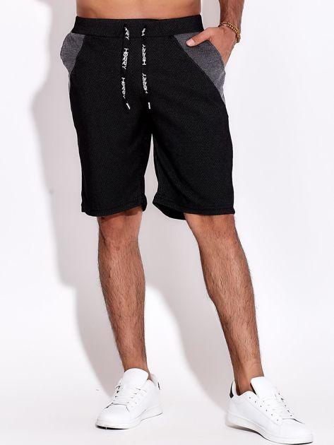 Czarne szorty męskie bawełniane z kieszeniami i trokami                              zdj.                              1