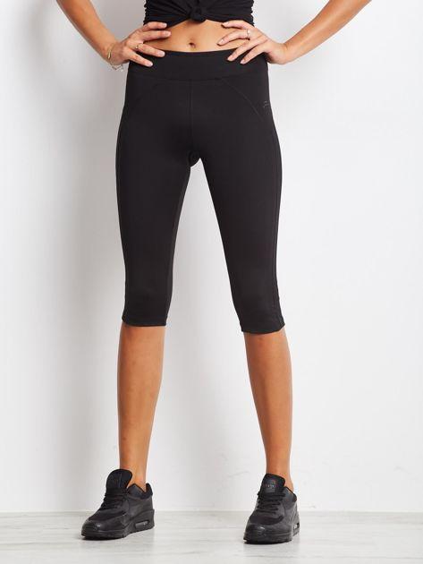 Czarne termoaktywne legginsy do biegania 3/4 z błyszczącymi lampasami ♦ Performance RUN                                  zdj.                                  4