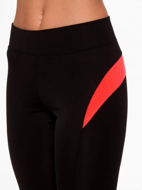 Czarne termoaktywne legginsy do biegania 3/4 z fluoróżowymi lampasami ♦ Performance RUN                                  zdj.                                  6