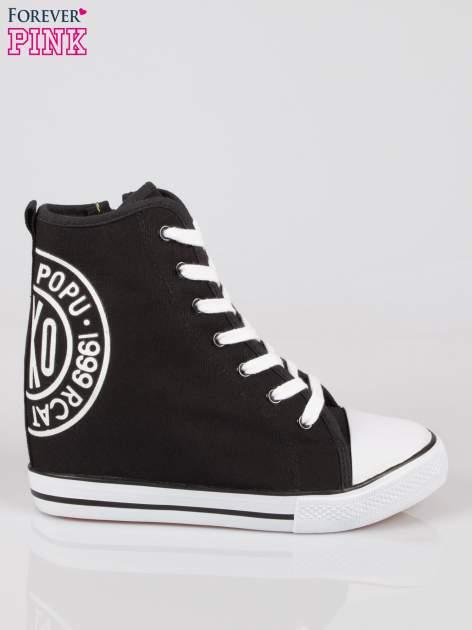Czarne trampki na koturnie sneakersy z logo                                  zdj.                                  1