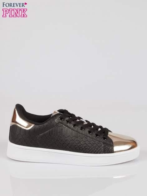 Czarne wężowe adidasy damskie gold cap toe