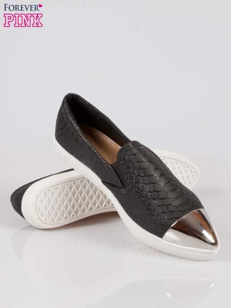 Czarne wężowe buty slippers silver cap toe                                  zdj.                                  4