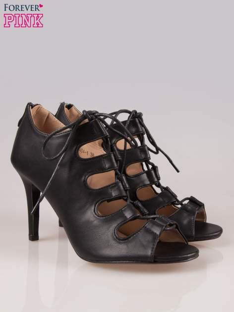 Czarne wiązane sandały typu gladiatorki Dion                                  zdj.                                  2