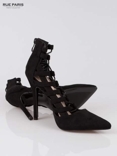 Czarne wiązane szpilki lace up z suwakiem Amber                                  zdj.                                  4
