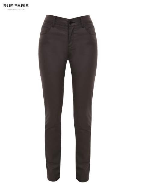 Czarne woskowane spodnie slim fit                                  zdj.                                  2