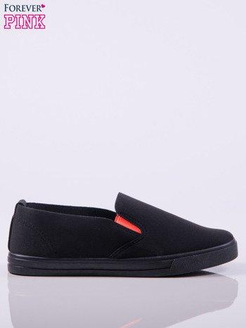 Czarne wsuwane slip-ony z gumkami po bokach