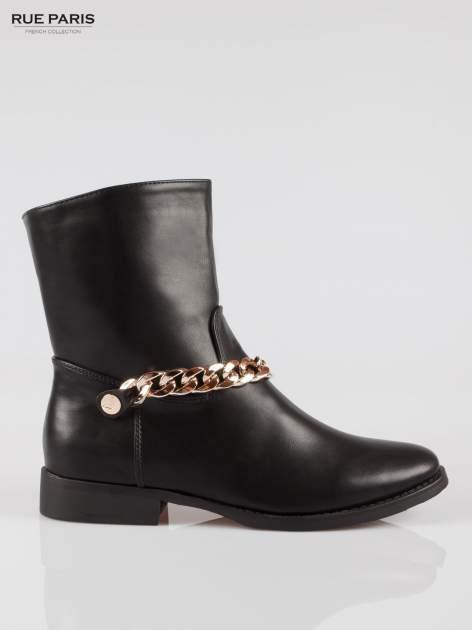 Czarne wysokie botki biker boots ze złotym łańcuchem