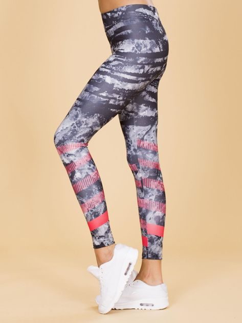 Czarne wzorzyste damskie legginsy                              zdj.                              2