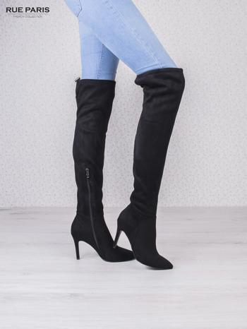 Czarne zamszowe kozaki faux suede na szpilkach wiązane w kolanach                                  zdj.                                  3
