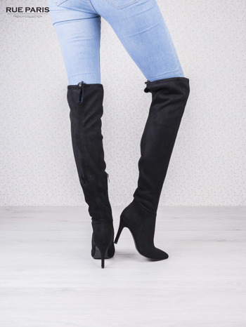 Czarne zamszowe kozaki faux suede na szpilkach wiązane w kolanach                                  zdj.                                  4