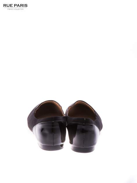 Czarne zamszowe lordsy z lakierowanym noskiem                                  zdj.                                  3