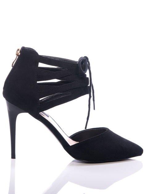 Czarne zamszowe szpilki lace up z wiązaniem faux suede                              zdj.                              1