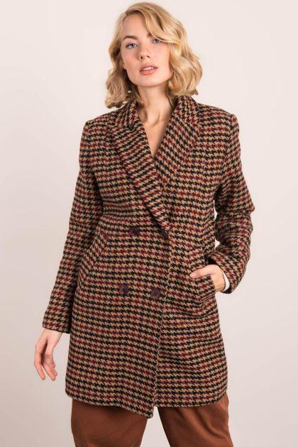 Czarno-beżowy płaszcz damski BSL