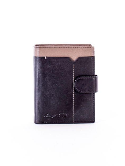 Czarno-beżowy portfel skórzany na zatrzask z kontrastowym wykończeniem                              zdj.                              1