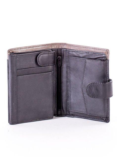 Czarno-beżowy portfel skórzany na zatrzask z kontrastowym wykończeniem                              zdj.                              4