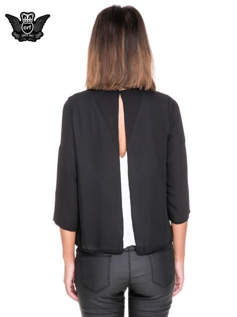 Czarno-biała dwuwarstwowa koszula o kroju narzutki                                  zdj.                                  4