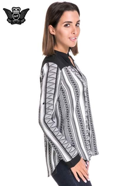 Czarno-biała koszula w geometryczne wzory                                  zdj.                                  3