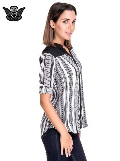 Czarno-biała koszula w geometryczne wzory                                  zdj.                                  5