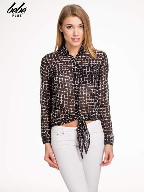 Czarno-biała koszula w geometryczne wzory z wiązaniem                                  zdj.                                  1