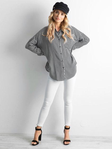 Czarno-biała koszula w paski                              zdj.                              4