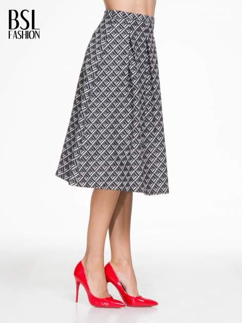 Czarno-biała spódnica midi w geometryczny wzór I                                  zdj.                                  3