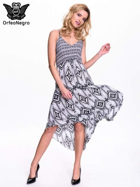 Czarno-biała sukienka w azteckie wzory                                  zdj.                                  6