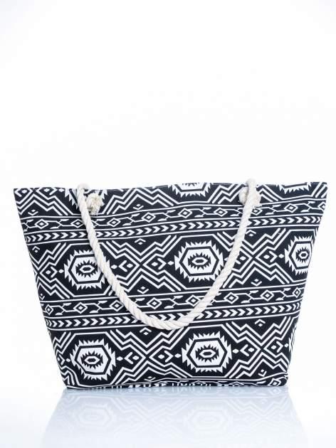 Czarno-biała torba plażowa w azteckie wzory                                  zdj.                                  1