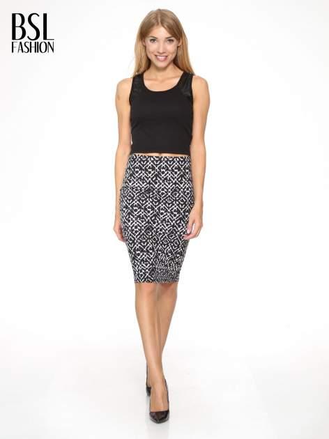 Czarno-biała wzorzysta spódnica ołówkowa                                  zdj.                                  2