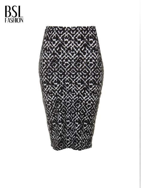 Czarno-biała wzorzysta spódnica ołówkowa                                  zdj.                                  5