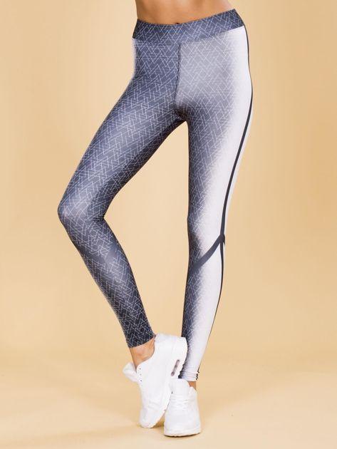 Czarno-białe legginsy w geometryczne wzory                              zdj.                              1