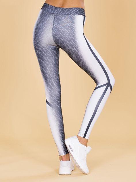 Czarno-białe legginsy w geometryczne wzory                              zdj.                              3