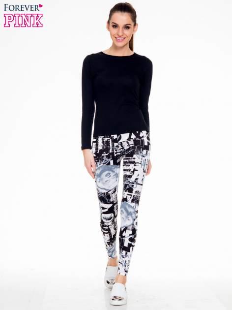 Czarno-białe legginsy z nadrukiem Marilyn Monroe                                  zdj.                                  2
