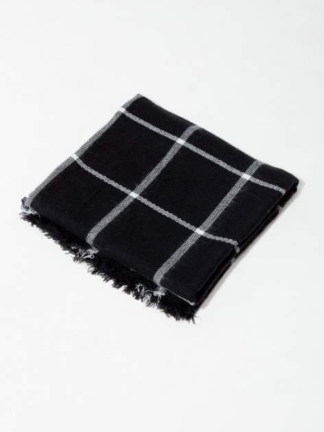 Czarno-biały szalik damski w kratę                                  zdj.                                  5