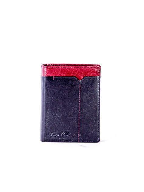 Czarno-bordowy portfel dla mężczyzny z ozdobnym wykończeniem