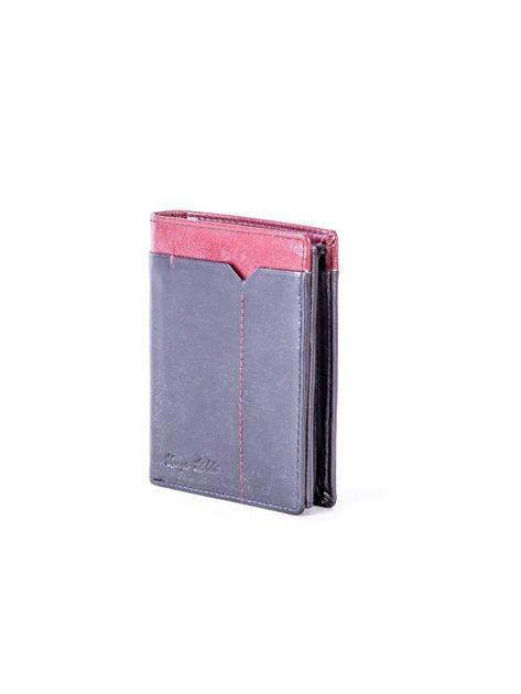 Czarno-bordowy portfel dla mężczyzny z ozdobnym wykończeniem                              zdj.                              3