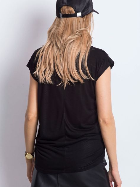 Czarno-brązowy t-shirt Hattie                              zdj.                              2