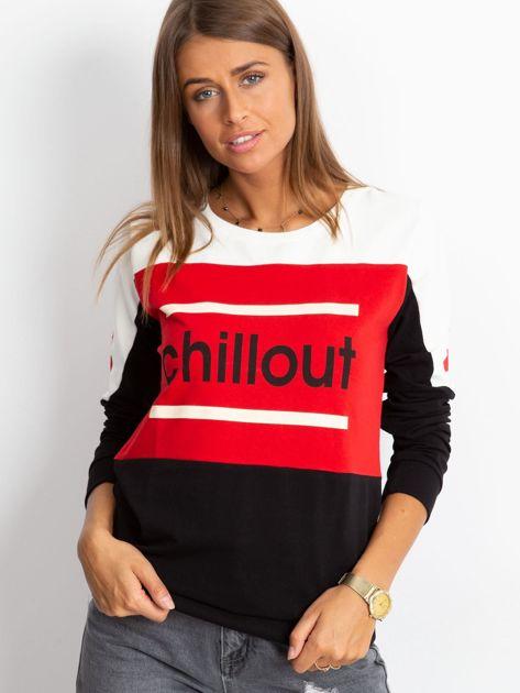 Czarno-czerwona bluza bawełniana z napisem                              zdj.                              3